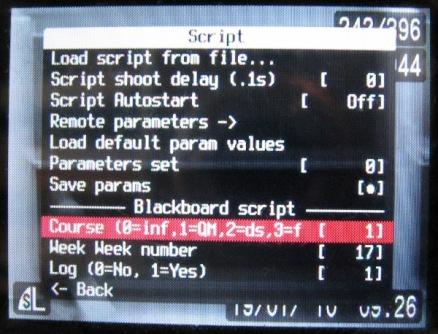 Screenshot of the CHDK script menu