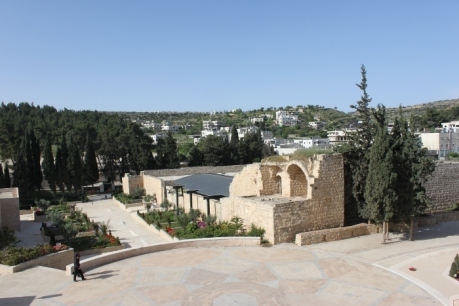 From outside the Convention Palace, one can see Efrat settlement on top of the hill