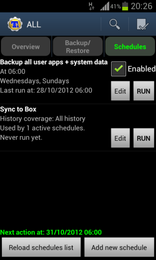 Titanium Backup, create the backup all apps and data sechedule