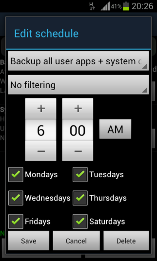 Titanium Backup, Set the schedule