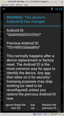 Restore ID of your device