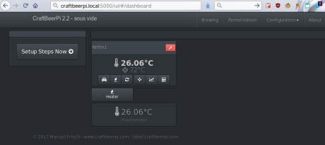 CraftBeerPi all set up with a thermometer and relay